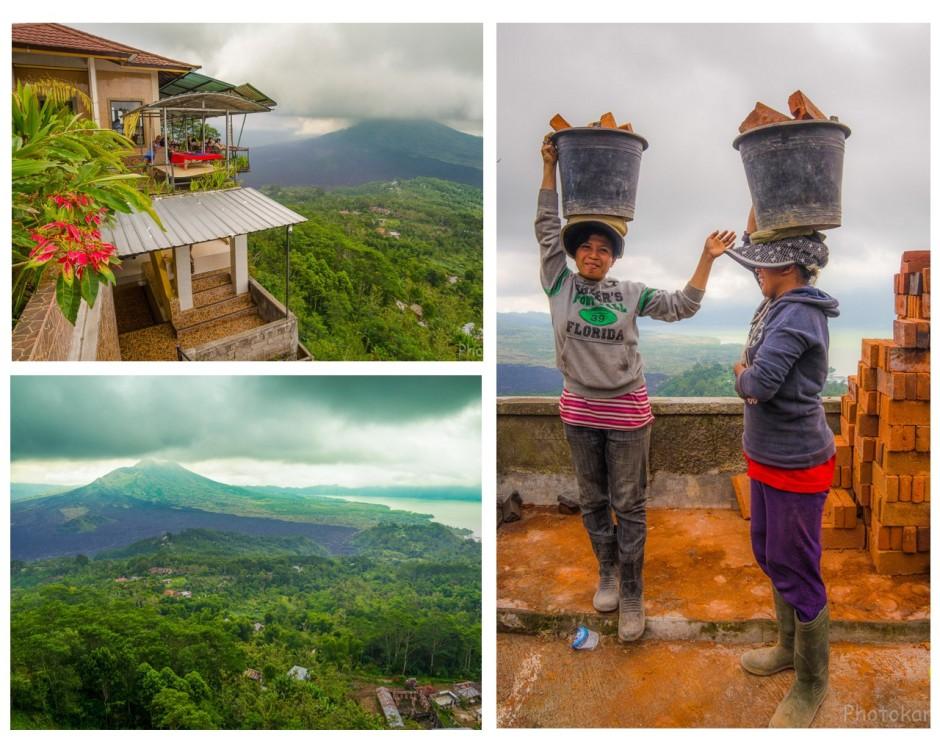 Хрупкий девушки. Вулкан Гунунг-Батур. Ресторанчик с видом на долину.
