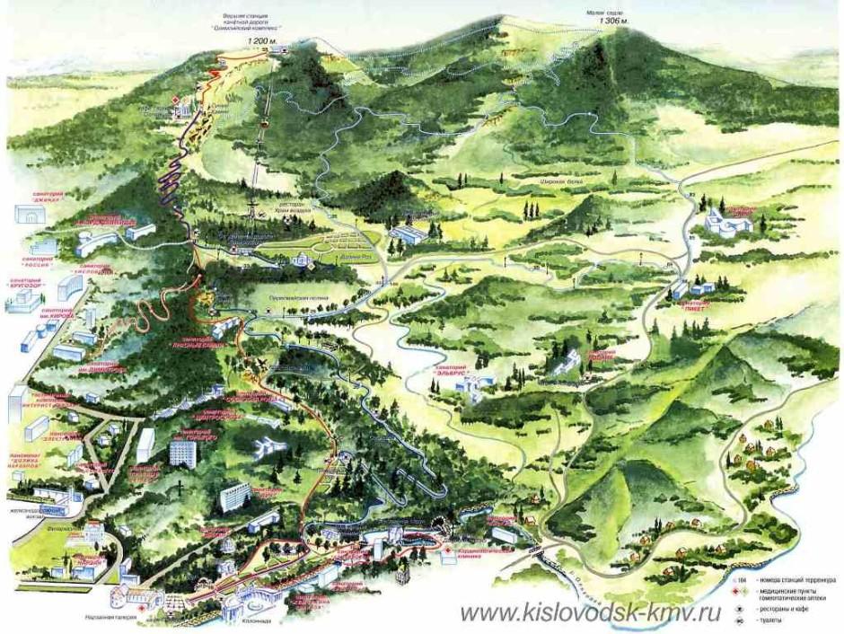 Карта маршрутов. Терренкуры Кисловодска
